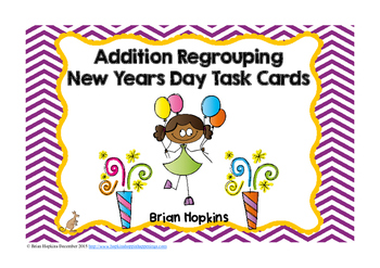 New Years Day Addition Regrouping Task Cards