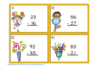 New Years Day Subtraction Regrouping Task Cards