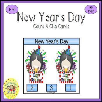 New Year's Count and Clip Holiday Task Cards
