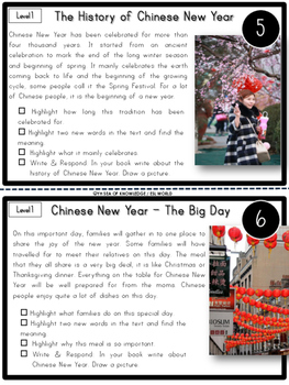 New Year's Day, MLK Junior, Chinese New Year Nonfiction Reading Passages