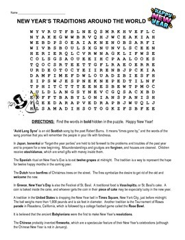 New Year's Day traditions from around the world - word search