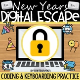 New Years Digital Escape Room Keyboarding & Coding (Includ