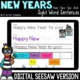New Years Digital Sight Word Sentences | Distance Learning