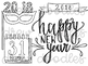 New Years Doodles Digital Clip Art Set- Black Line Version