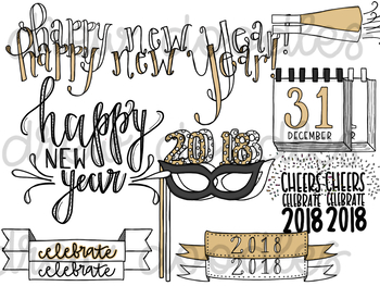 New Years Doodles Digital Clip Art Set- Color and Black Line COMBO