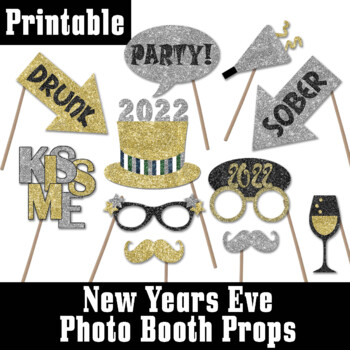 New Years Eve 2018 Glitter Photo Booth Props and Decorations - Printable