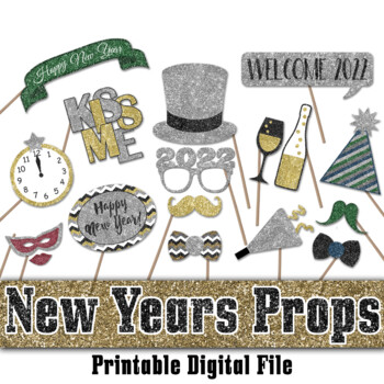 graphic about Printable Decorations called Refreshing Decades Eve 2019 Glitter Picture Booth Props and Decorations - Printable