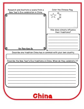 New Years Eve Around the World Flip Book Research Project and Activities