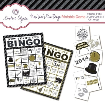 New Year's Eve BINGO Printable Game