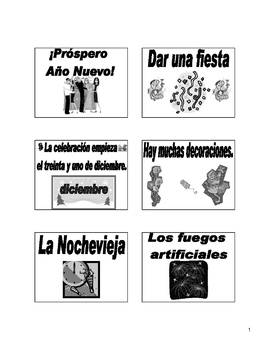 New Year's Eve Bulletin Board and Flash Cards in Spanish