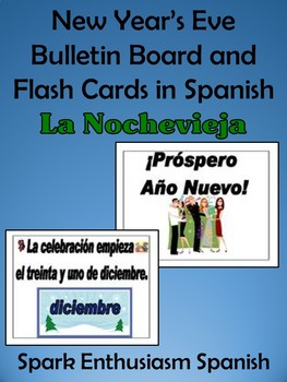 new years eve bulletin board and flash cards in spanish