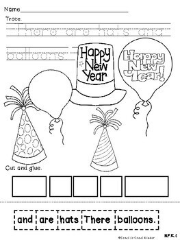 New Years Eve Scrambled Sentences and color sheets