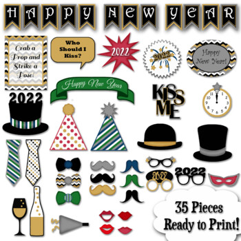 New Years Eve 2017 Photo Booth Props and Decorations - Printable