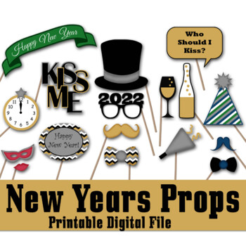 graphic regarding Printable Props identify Contemporary Many years Eve 2019 Photograph Booth Props and Decorations - Printable