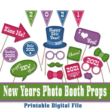 New Years Eve Photo Booth Props and Decorations - Colorful 2018 Props