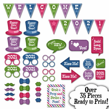 New Years Eve Photo Booth Props And Decorations Colorful 2019 Props