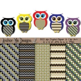 New Year's Eve Polka Dot & Chevron Owls and Matching Papers