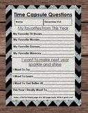 New Years Eve Time Capsule - Black Chevron Keepsake - 2016 Party Activity Game
