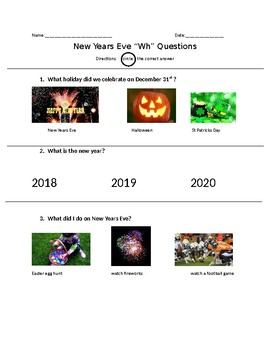 """New Years Eve """"Wh"""" Questions"""