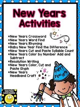 New Years Filler Activities