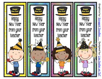 New Years (From Your Teacher) Bookmarks - 4 Designs