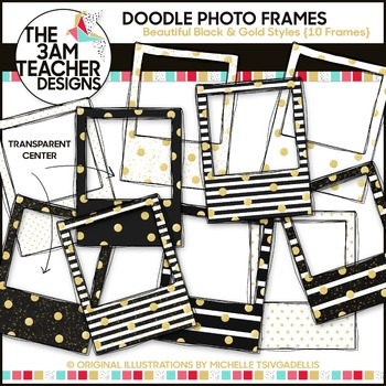 New Year's Glitter & Glam Doodle Photo Frames