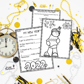New Year's Glyph-Writing Activities and Flip Book