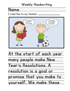 New Years Handwriting Activity