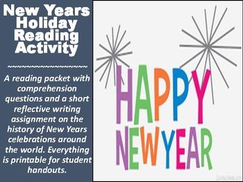New Years Holiday Reading Activity