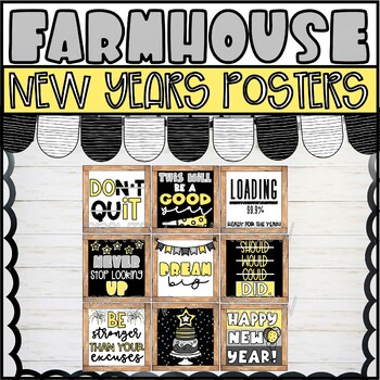Farmhouse New Years Decor Posters