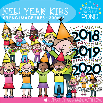 New Years Kids Clipart {Graphics From the Pond}