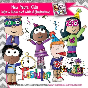 New Years Kids Ready to Celebrate Commercial Clipart