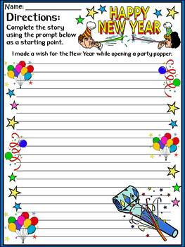 New Years Language Arts Activities: New Year's Writing Prompts - Color