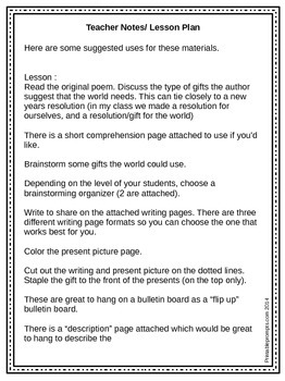 """New Year Literacy Activity- Poem and Writing """"A Gift To The World"""""""