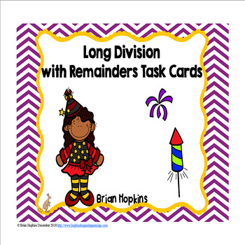 New Years Long Division Task Cards
