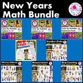 New Years Math BUNDLE,Color by Number, Addition, Subtraction, math centers