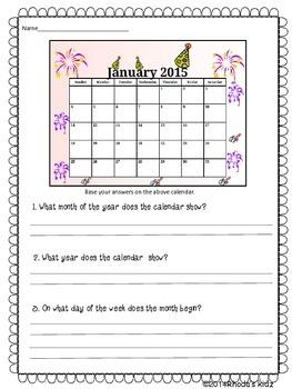 New Year's Math- Calendar Activities