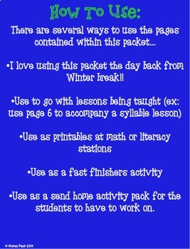 New Years Math & Literacy Packet - Print and Practice