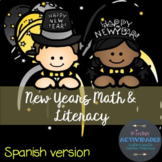 New Year Math & Literacy in Spanish (Año Nuevo)