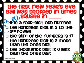New Year's Math Mystery Numbers