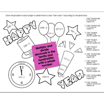 New Years Math Practice | Color by Number Grades K-8 Bundle