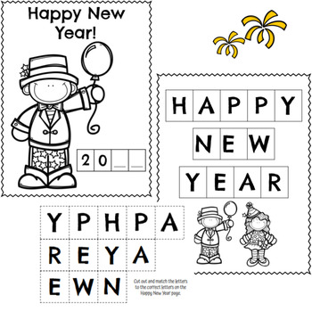 New Years Math and Literacy Activity Pack for Prek and K