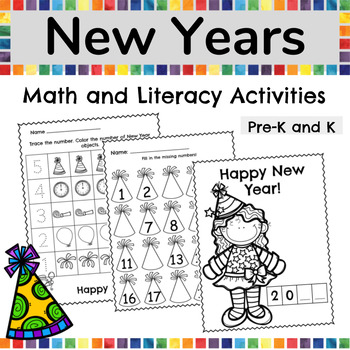 New Years Math and Literacy Activity Pack for Preschool and Kindergarten