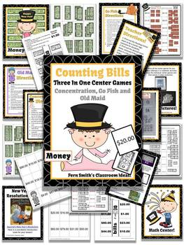 New Years Money Bills Only Center Games for Go Fish Old Maid Concentration
