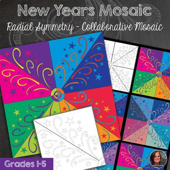New Years Mosaic - Radial Symmetry Mosaic - New Years Art Activity