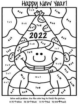 New Year S Multiplication Color By Number Fun Pack Fun