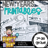 New Year's 2017 No Prep Printables Math and Literacy revie