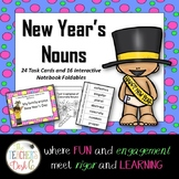 New Year's Nouns Task Cards and Interactive Notebook Foldables