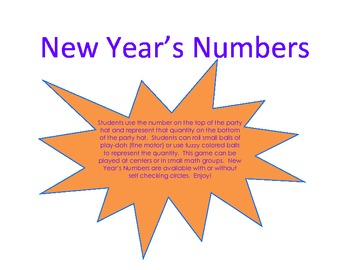 New Year's Numbers 1-12 Self-Checking