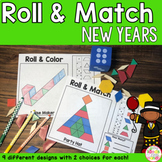 New Years Pattern Blocks Mat Roll and Match Game